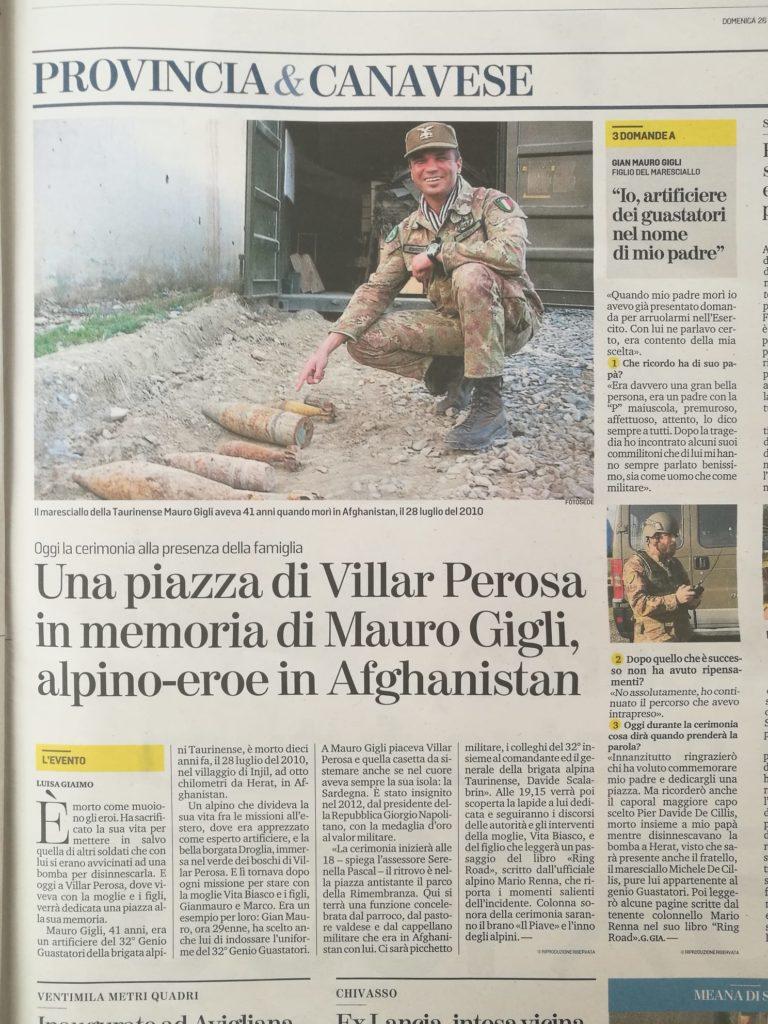 Articolo della Stampa Torino per Mauro Gigli